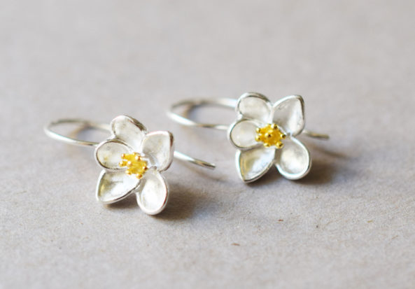 Earrings Yellow Flower