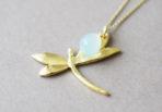 Necklace Dragonfly with Aquachalcedon Gemstone