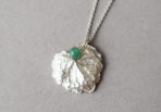 Necklace with Leaf and Jade Gemstone