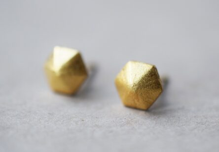 Earstuds brushed Hexagon