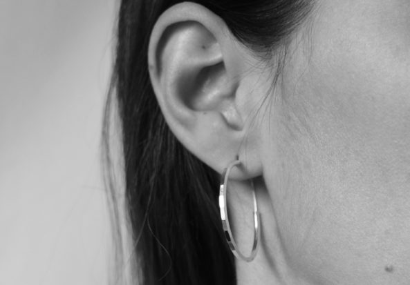 Earrings Hammered Hoops