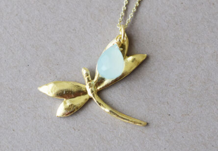 Necklace Dragonfly with Aquachalcedon Gemstone