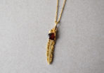Necklace Feather with Garnet Gemstone