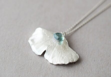 Necklace Gingko Leaf with Aquamarine Gemstone