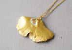 Necklace Gingko Leaf with Aquamarine Gemstone