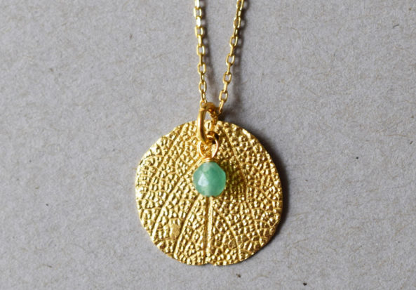 Necklace Sage Leaf Print and Jade Gemstone