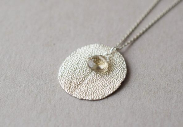 Necklace Sage with Smoky Quartz Gemstone