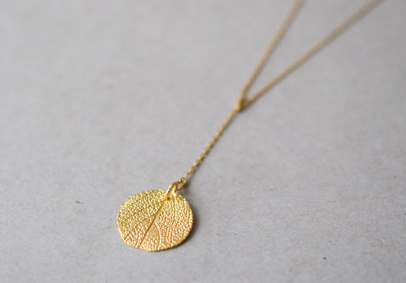 Y- Necklace with Sage Leaf Print