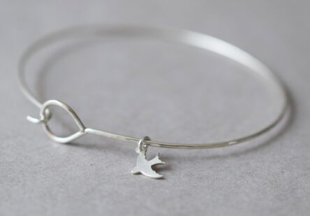 Fine Hammered Bangle with tiny Bird