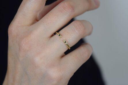 Open Ring with 2 black zirconia Stones