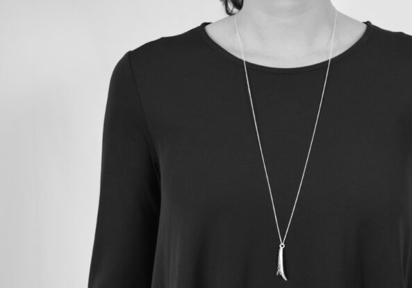 Necklace Olive Leaf with Smoky Quarz