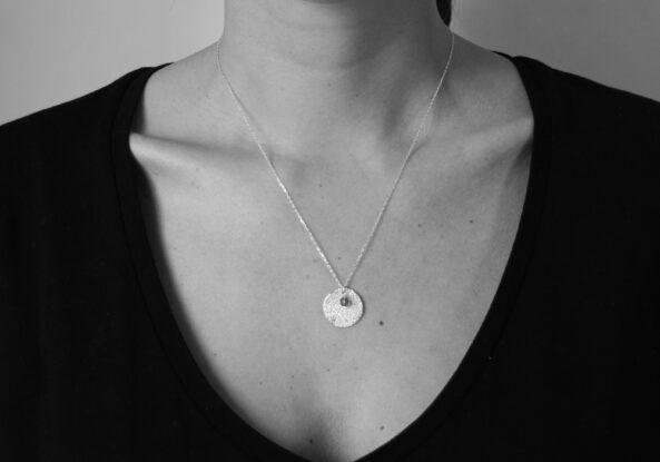 Necklace Sage Leaf Print and Jade Gemstone