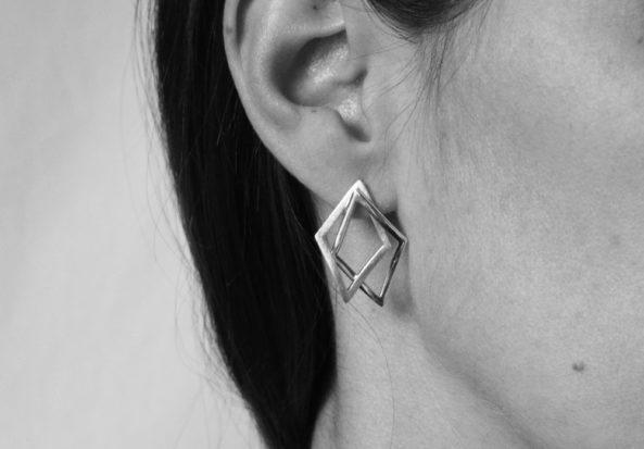 EarringsDoubleTriangleBrushed