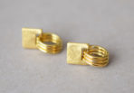Earrings Brushed Square Rings