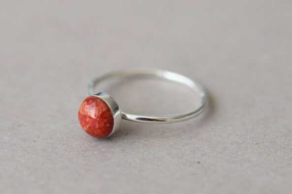 Ring Red Coral Stone