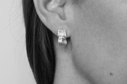 Earrings Brushed Square Rings