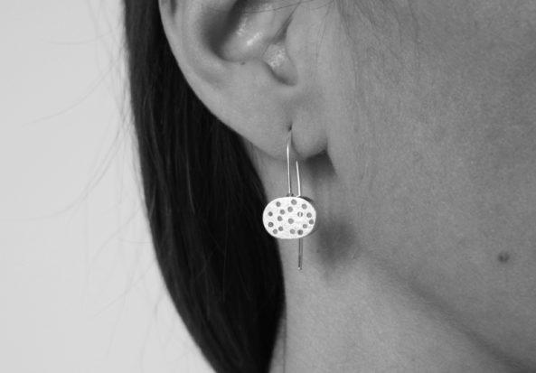 Earrings Brushed Dotty Disc