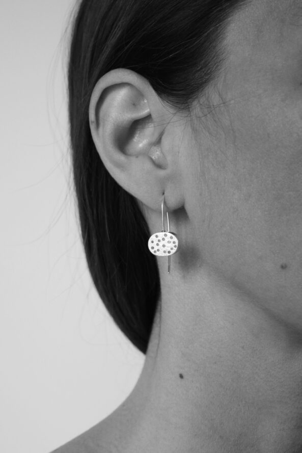 Earrings Brushed Dotty Disc