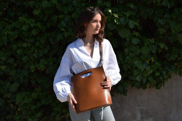 Leatherbag Open Cognac