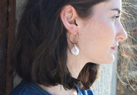 Earrings Pearl Round